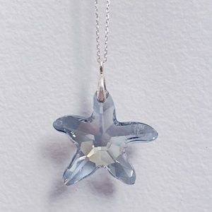 Blue Crystal Starfish Sterling Silver Necklace NEW